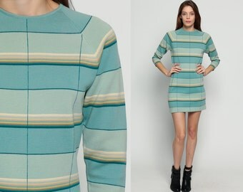 WOOL Dress 60s Mod Mini Dress Striped Shift 1960s Twiggy Sheath Knit Preppy Long Raglan Sleeve Vintage Sixties Blue medium