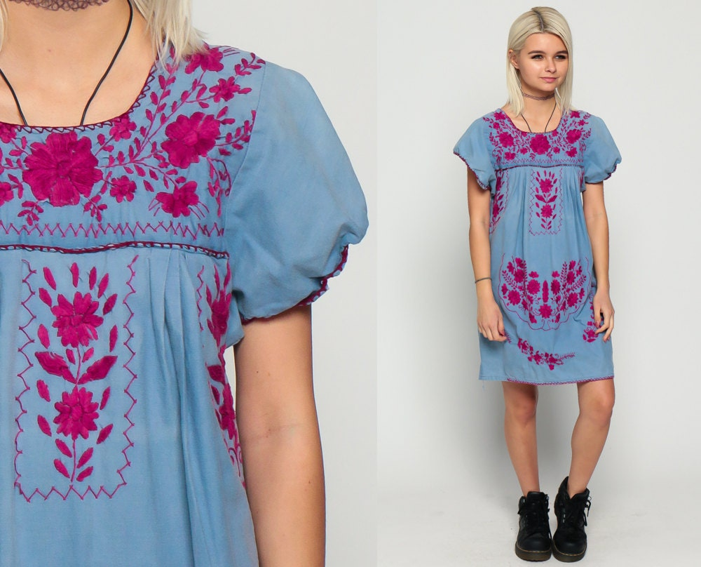 Mexican embroidered dress mini puff sleeve boho cotton tunic