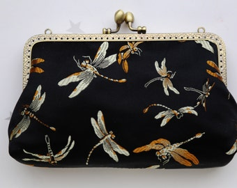 Dragonfly Pure Silk Clutch Bag (Cosmetic Case, Makeup Pouch, Travel Bag, Bag Belt)
