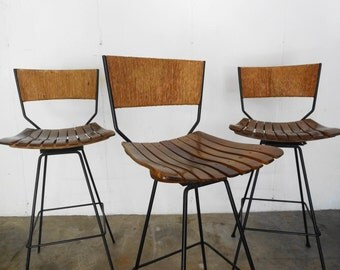 SET of Three BAR STOOLS by Arthur Umanoff