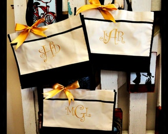 Set of 3 Personalized Monogrammed Embroidery Bridesmaid Gift Tote Bags