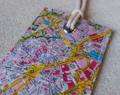 Brussels Belgium original vintage map luggage tag