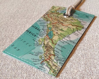 Central America luggage tag made with original vintage map