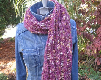 Chunky Raspberry and Tan Scarf