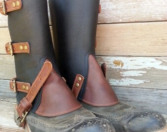 Steampunk Swiss Military Style Gaiters or Spats in Oiled Black with Brown Leather Gore, Trim and Antiqued Brass Hardware