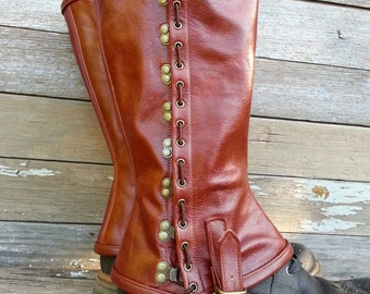 Red Brown Garment Leather Steampunk Spats or Gaiters w Antiqued Brass Hardware