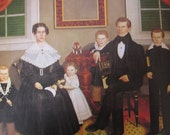 Joseph Moore and His Family, 10 x 10.5 in. 1980 Reproduction Book Page Print of a 1839 American Folk Art Painting by Erastus Salisbury Field
