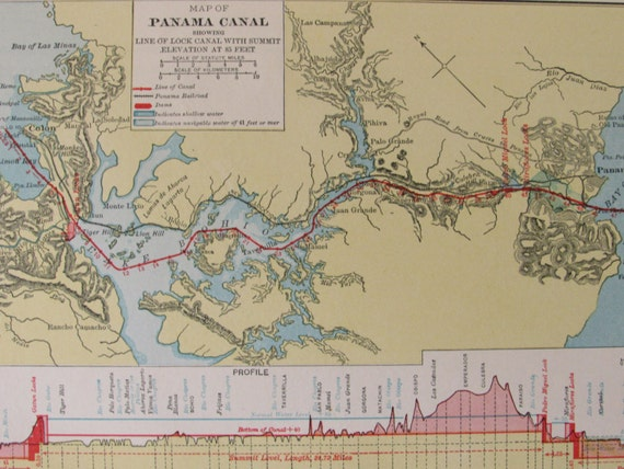 1932 vintage map of panama canal map atlas page 9 x 7 in wall like this item gumiabroncs Images