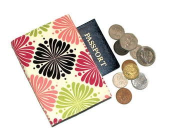 Passport Cover with Velcro Closure, Cotton Fabric in Brown, Pink and Green with Geometric Designs