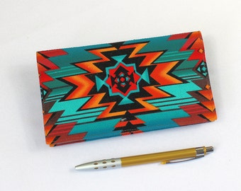 Southwest Fabric Checkbook Cover with Pen Holder, Optional Duplicate Check Flap, Turquoise and Rust