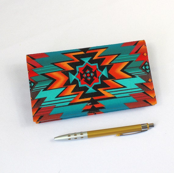 Fabric Checkbook Cover ~ Southwest fabric checkbook cover with pen holder optional