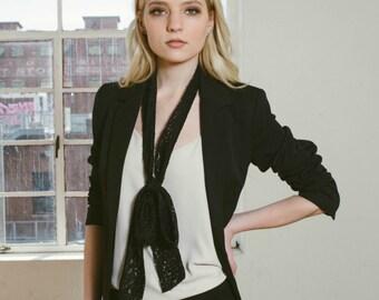 bufanda larga pitillo de encaje negro