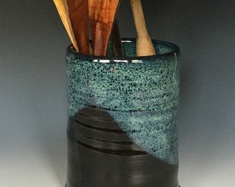 Black and Turquoise Kitchen Utensil Holder or Vase