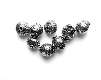 Bali Sterling Silver Beads - 8mm Rounds & Rondelles
