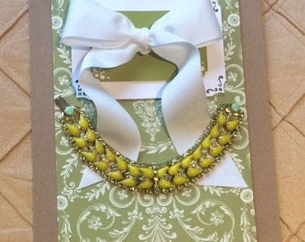 Vintage Art Deco Rhinestone Bracelet Green & Yellow