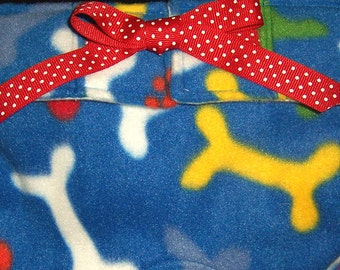 Dog Diapers Britches or Panties Ultra Soft  Bright Primary Color Bones on Blue Fleece with Red Trim