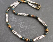 Tribal Inspired Handmade Necklace for Men | Beaded with Carved Bone, Bloodstone, Tiger Eye, Brass | Green, Brown Stone
