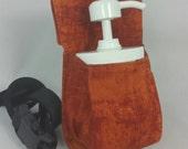Massage therapy 8oz cream jar couch hip holster, rust patina print, black belt