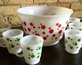 Vintage 1950s Drinkware / 50s Hazel Atlas Punch Bowl Set VGC / Milk Glass, Red Green Polka Dots, Serving Bowl and 6 Cups