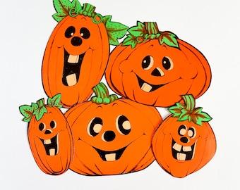 "Vintage 1970s Halloween Decorations / 70s Set of 5 Paper Jack-O-Lantern Wall Decorations 7-10""H  / Black Orange Green, Smiling, Big Teeth"