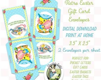 Easter Envelopes Vintage Style Digital Download Printable Retro Pocket Pals Letters Scrapbook Party Favors Gift Tags Image Sheet
