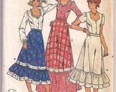 Sweetheart Neckline Blouse, Prairie Ruffle Skirt, Midi or Maxi, Hippie Skirt, Butterick 6085, Vintage Pattern Misses Size 16 Uncut