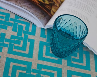 Regency Lattice Teal on Natural Linen Tea Towel