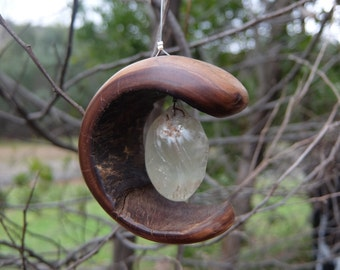 "Nature Mobile - ""Treasured Moon"" - wood moon embraces Prehnite - Australian Natures Art"