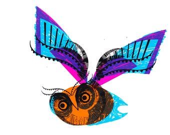 Flying Owl Screenprint