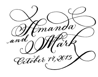 Bride and Groom digital name calligraphy artwork for invite or save the date PDF JPEG
