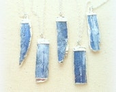 Kyanite necklace blue kyanite pendant sterling silver gemstone necklace silver edged kyanite jewelry raw kyanite necklace crystal necklace