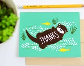 Thanks Otter Card, Animal Thank You Cards, Otter Art, Otter Lover, Gingiber Cards, Greeting Card, Blank Thank You Card