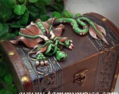 Ooak Polymer Clay Green N Brown Sad Little Dragon Sculpture on Tall Old World Chest #647