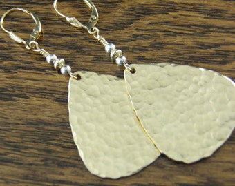 Hammered Gold Earrings, Gold Dangle Earrings, 14k Gold Filled & Sterling Silver, Two-Tone