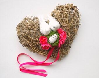 Love Nest Ring Bearer Pillow, Dove Birds Nest, Heart Pink Apple Blossom, Hot Pink Brown White, Woodland Rustic Wedding Ring Bearer Pillow