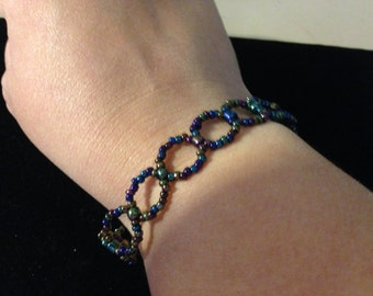 Bracelet - Metallic Multi Color Beaded