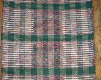 Handwoven Rag Rug, Original Pattern   Dark Green, Red, Cream (Inv.