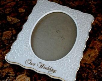 Wedding Photo Frame Porcelain Ceramic Ivory Cream Scalloped Embossed Scrolling