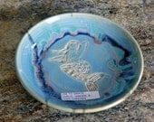 Mermaid Plate- Pottery/ Ceramic Grater- Garlic/ Cheese/ Herb/ Ginger Grinder. Opal Blue, Handmade for you.;