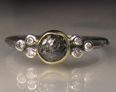 Raw Diamond Engagement Ring, 18k Gold, Sterling Silver, Rough Black Diamond Ring, Raw Black Diamond Cluster Ring