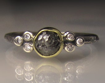 Raw Diamond Engagement Ring, 18k Gold, Sterling Silver, Rough Black Diamond Ring, Raw Black Diamond Cluster Ring