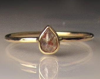 Rose Cut  Diamond Engagement Ring, 14k Yellow Gold Diamond Ring, Slim Rose Cut Diamond Ring, Hammered Rose Cut Diamond Ring