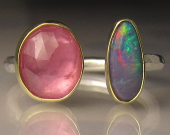 Boulder Opal and Rose Cut Pink Sapphire Ring, Open Stone Ring, Open Face Ring, 18k Gold and Sterling Silver, - size 7.5 - 7.75