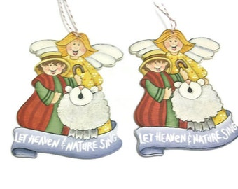 Hand Painted Angel Shepherd Sheep Ornaments   Let Heaven And Nature Sing