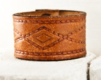 Tooled Leather Wristband Brown Leather Jewelry Cuff Western Fashion