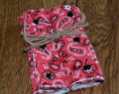 Western Baby Reversible Car Seat Strap Covers Red Bandana and Cow Print