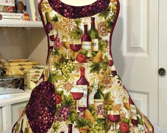 Handmade Woman's apron in a festive wine and cheese theme, full, over the head, kitchen, kitchy, Bridal gifts, grapes, retro