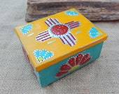 Yellow, Turquoise and Red with Zia Symbol Tin Punch Trinket Box   ~  Yellow, Red and Turquoise Tin Punch Rosary Box  ~ Tin Punch Jewelry Box