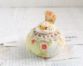Red and Green Floral Bird Pincushion Cotton Pin Cushion
