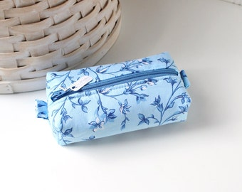 Cornflower Blue Small Boxy Pouch Blue Floral Coin Purse Blue Floral Change Purse Zipper Pouch